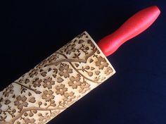 Wooden Embossing Rolling Pin  Sakura Pattern by BezalelArtShop