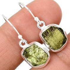 Genuine Czech Moldavite 925 Sterling Silver Earrings Jewelry MLDE616