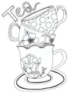 Sketching A Simple Teacup Teapot Template and Embroidery