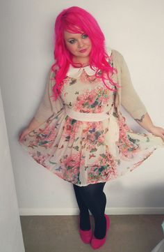 Yours Butterfly Collar Dress, Lydc Pink Platform Wedges, Primark Nude Cardigan