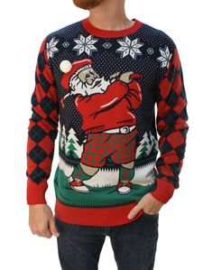 Ugly Christmas Sweater Unisex Golfing Santa With Pop Out Hat Sweatshirt Making Ugly Christmas Sweaters, Homemade Ugly Christmas Sweater, Christmas Shirts, Ugly Sweater, Men Sweater, Being Ugly, Santa, Sweatshirts, Long Sleeve
