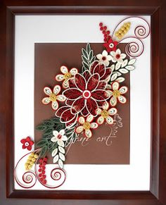 Quilling In Dark Red and Green