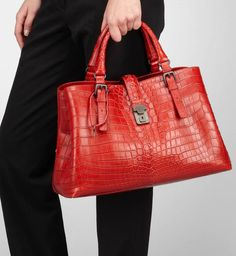 Crocodile fume bags are typical to the style of Bottega Veneta bags and we're never disappointed by what they have to offer. I instantly fell for the Blood