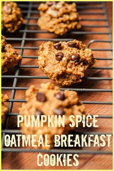 {Pumpkin Spice Oatmeal Breakfast Cookies} The easiest way to sneak oatmeal into your kids diets!! Super fast and easy! #cleaneating