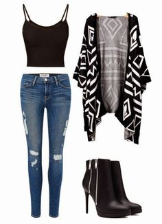 Womens Kimono Boho Aztec Shawl Cardigan SMALL MED LARGE Boutique summer style, Winter Outfits, Edgy Cardigan Look Perfect for School, A First Date or Just Looking Hot around Town. (full outfit details at link). Fashion Mode, Look Fashion, Winter Fashion, Fashion Outfits, Womens Fashion, Fasion, School Fashion, Edgy Teen Fashion, Fashion Ideas