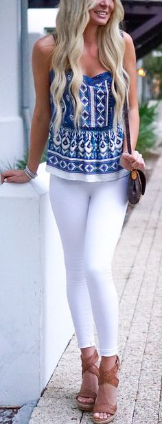 #summer #outfitsAll The Heart Eyes For This Peplum Top! // Printed Tank + White Skinny Pants + Brown Wedge