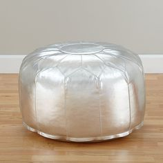 Faux Leather Silver Pouf | The Land of Nod