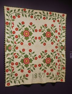 Whig Rose quilt from collection @ American Folk Art Museum