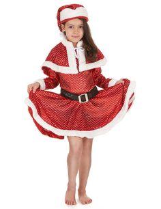Disfarce Mãe Natal com lantejoulas menina