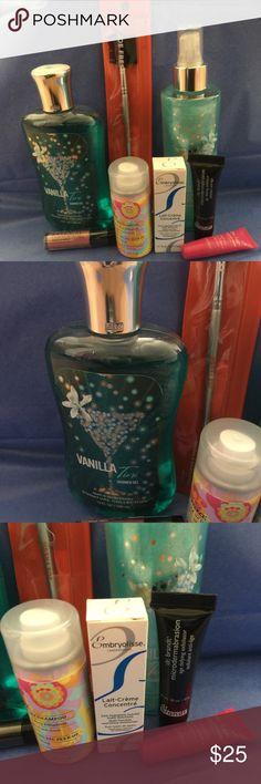 Beauty Bundle Bath & Body Works Vanilla Tini Shower Gel Bath & Body Works Vanilla Tini Mist Eyebrow & lash brush amika Dry shampoo Embryolisse moisturizer Dr brandt skin exfoliate Dr lipp balm  Manna Kadar - primer lip stain -Rosette Makeup