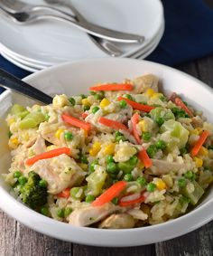 20 minute chicken and rice dinner.  Great for those busy nights!