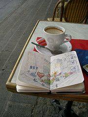 Awesome travel journalist:  coffee and journaling. My favorite thing to do too!