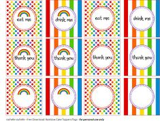 Free rainbow party printables to print and use at your next rainbow party. For personal use only.