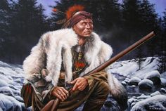 Winter Hunter Painting by Dan Nance kp Native American Pictures, Native American Artwork, Indian Pictures, Native American Artists, Native American Indians, Woodland Indians, Native Indian, Indian Art, Native Art