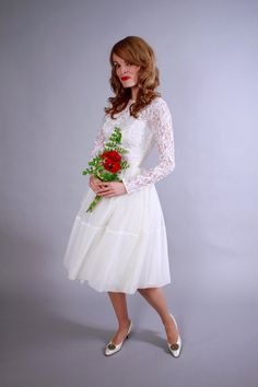 1950s wedding dress . 50s cupcake length lace ballet style mid century dress . by coralvintage / www.coralvintage.etsy.com