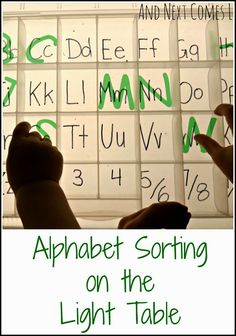 Alphabet sorting on the light table from And Next Comes L