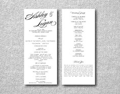 Custom Wedding Program - Calligraphy. $1.60, via Etsy. #Wedding