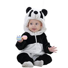 MICHLEY Unisex Baby Romper Winter and Autumn Flannel Costume Animal Outfits Black100cm