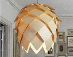 Nordic vintage countryside wood pine cone pendant lamp light chandeliers