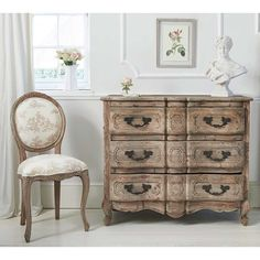 The French Bedroom Company's Chateauneuf Pine Wood Chest of Drawers | French Chest made from exquisitely carved reclaimed pine.