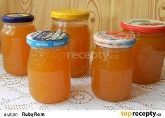 Pomerančová marmeláda s grepem a rumem Hot Sauce Bottles, Preserves, Pickles, Rum, Jelly, Mason Jars, Grapefruit, Food And Drink, Drinks