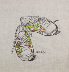 Sewing Illustration, Liberty canvas shoes