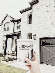 A Whole New Exterior with Classico Limewash House Paint Exterior, Exterior House Colors, Exterior Design, Diy Exterior Brick Painting, How To Paint A Brick House, Stained Brick Exterior, Modern Exterior, Brick Exterior Makeover, Exterior Remodel