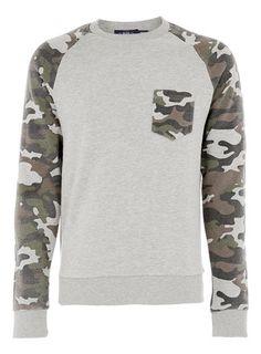 Topman Grey Camo Sleeve Raglan Sweatshirt
