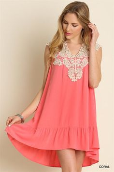 Sleeveless Dress with Lace Detail