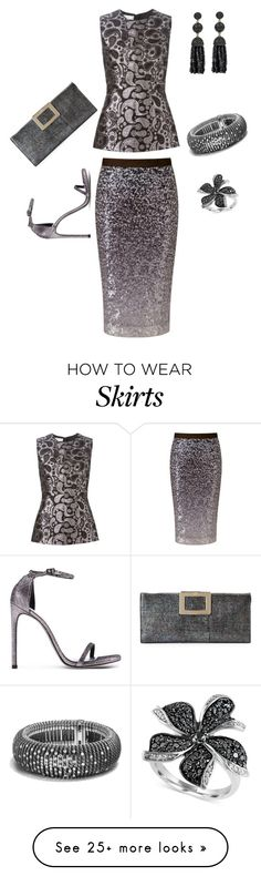 """Sequin Skirt III"" by nicole-trail on Polyvore featuring Pure Collection, STELLA McCARTNEY, Stuart Weitzman, Effy Jewelry, David Yurman and Roger Vivier"