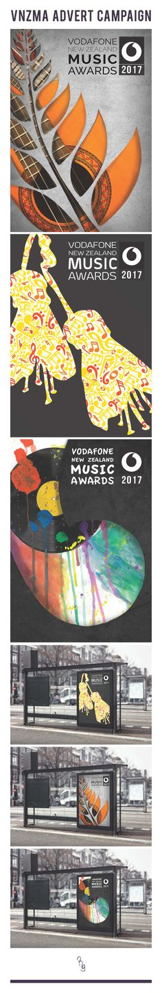 Vodafone New Zealand Music Awards 2017 Poster Campaign Reference - David Hockney, Marian Bantjes, Lora Zombie