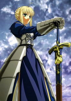 "Saber from Fate Stay/Night posing with her trusty ""EX...CALIBUR!!!!"""