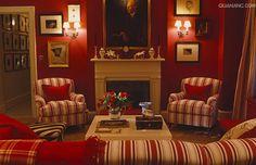 red & cream combine artfully in this stylish sitting room of designer Ward Denton.