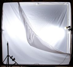 Another good idea of how to build a wall of light from bed sheets and PVC pipe