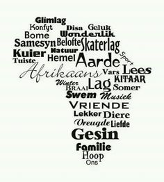 Afrikaans - one of the youngest - if not the youngest language of Africa. Africa Quotes, Afrikaanse Quotes, Word Pictures, Wall Quotes, My Land, Wall Sticker, South Africa, Verses, Inspirational Quotes