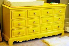 LOVE this DIY redo!! Amazing color!!! -Benjamin Moore Bold Yellow in their low VOC Aura line    Read more: http://honeyandfitz.blogspot.com/2010/09/before-and-after-changing-table-dresser.html#ixzz2167HdSWY