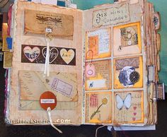 3 altered book mixed media collage art journal smash book