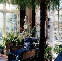 Statue in corner. Dark shutters and tree fern. Conservatory by Todd Yoggy