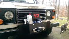 Land Rover Defender and a Warn 8274 Winch on a custom bumper