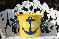 Personalized Easter Bucket  5 qt Anchor by pinkydotgifts on Etsy, $20.00