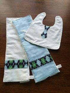 SOLD. Three-piece soft flannel ensemble of two burp cloths plus a bib with appliqued tie for the perfect newborn boy gift. For more designs visit Olivialawsondesigns.etsy.com