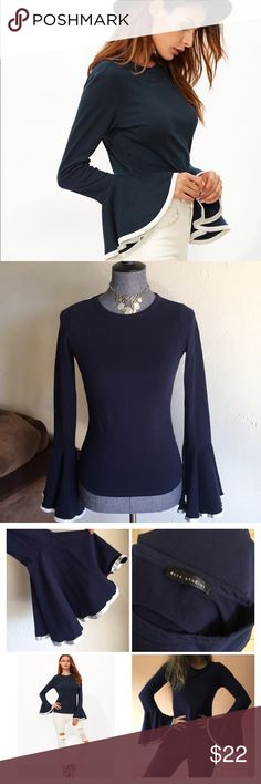 ecro studios bell sleeves blouse Navy blue & white With bell  and long sleeves blouse size small  materials—- 95% cotton 5% spandex in excellent used condition. ecru studios Tops Tees - Long Sleeve