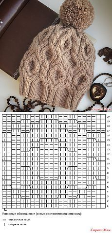 Knitting Patterns Hat Spit, rhombus and incredible softness) – V. Knitting Paterns, Knitting Stitches, Knit Patterns, Cable Knit Hat, Cable Knitting, Knit Crochet, Crochet Hats, Knitting Accessories, Crochet Projects