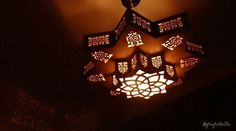 Lustre oriental en carton. Illuminated Oriental chandelier cardboard. https://www.facebook.com/feefollette.home