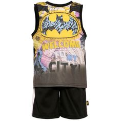 "A great cartoon inspired outfit from Andy Miller with a Super Hero graphic print. The sleeveless top features a Batman logo image printed with the message ""Welcome To My City"" on front and black solid colored back. Complete with coordinating shorts."