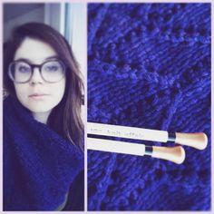 @infinite_ugh: #knit myself something big, blue, and fluffy on my new #knitaffair needles. Too bad I have to wait till winter to wear it :( #knitstagram #scarf #chevron #indigo #knitting