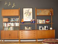 {mid century teak shelving unit} you had me at hello.  Andy build this please