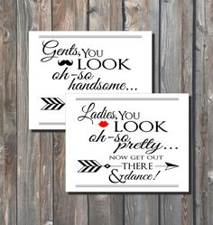Wedding Bathroom Signs –You Look Oh So Pretty–Ladies Bathroom Sign–Gents Restroom Sign–8x10 Printable Sign-Toiletries Sign-Instant Download