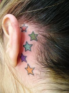 2d05c75e2 colorful stars ear tattoo, matches my moms heart/star tatt on her ankle!