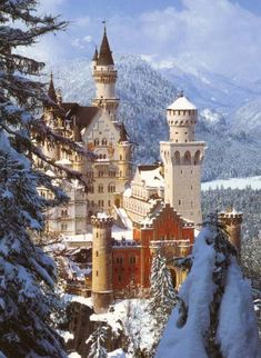 The Sleeping Beauty castle in Disneyland was based on Neuschwanstein Castle in Germany.  The beautiful building sits above Alpsee Lake and is surrounded by mountains and forests.